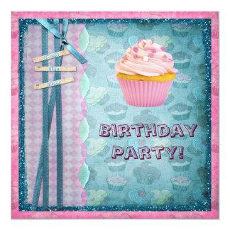Het snoepje zoals Suiker Cupcakes schittert Partij 13,3x13,3 Vierkante Uitnodiging Kaart