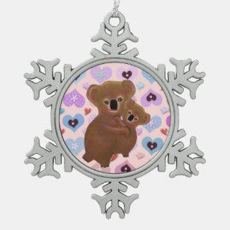 Het snoezige Ornament van de Sneeuwvlok van Koala' Tin Sneeuwvlok Ornament