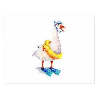 Het snorkelen Witte Gans Briefkaart