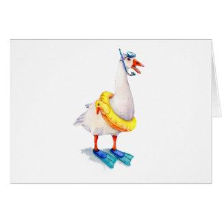 Het snorkelen Witte Gans Briefkaarten 0