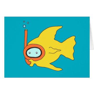 Het snorkelen Zwemmende Gele Vissen Wenskaart