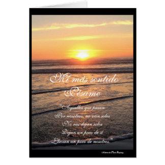 Het Spaans: puesta DE sol y poema Pesame/sympathie Briefkaarten 0