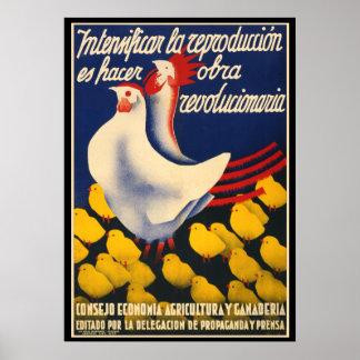 Het Spaanse Poster van de Propaganda van de Kip
