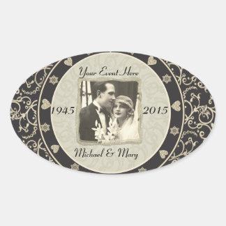 Het speciale Lijst van de Foto van het Huwelijk va Ovaalvormige Sticker