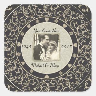 Het speciale Lijst van de Foto van het Huwelijk va Vierkante Sticker