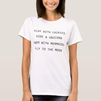 Het spel met Feeën berijdt een Eenhoorn zwemt met T Shirt