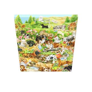 Het Spel van het puppy Canvas Afdrukken