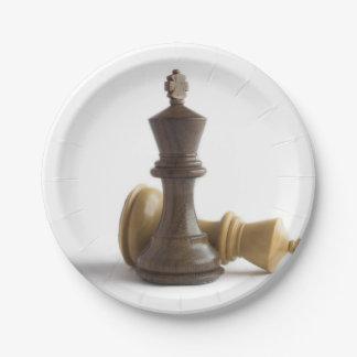 Het Spel van het schaak over Papieren Bordje