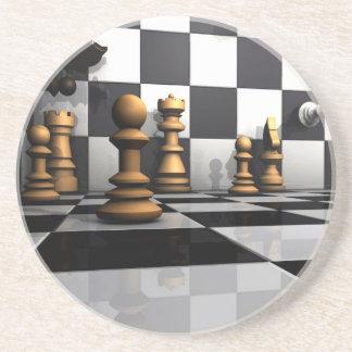 Het Spel van het Schaak van de koning Zandsteen Onderzetter