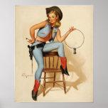 Het speld-Omhooggaande Meisje van de veedrijfster Posters