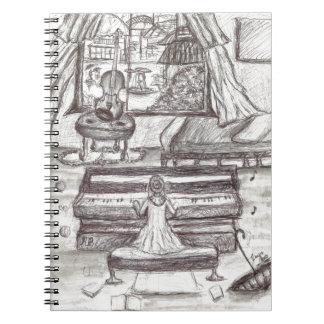 Het spelen piano op een regenachtige dag notitieboeken