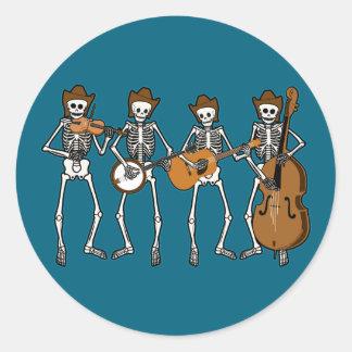 Het Spelen van de country muziek Skeletten Ronde Sticker
