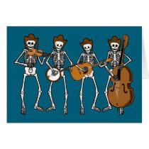 Het Spelen van de country muziek Skeletten Wenskaart