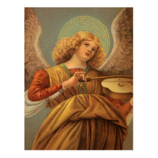 Het Spelen van de Engel van Kerstmis Viool Melozzo Briefkaart
