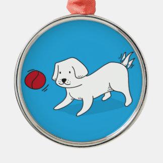 Het spelen van de hond met een Bal Zilverkleurig Rond Ornament