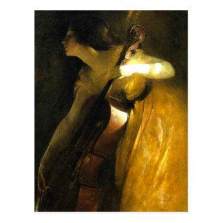 Het Spelen van de vrouw Cello Briefkaart