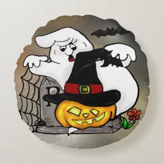 Het spook en de pompoen van Halloween Rond Kussen