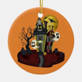 Het Spookhuis van Halloween Rond Keramisch Ornament