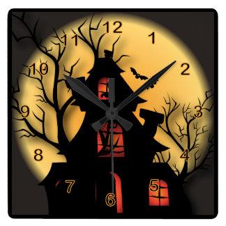 Het Spookhuis van Halloween Vierkante Klok