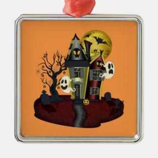 Het spookhuis van Halloween Zilverkleurig Vierkant Ornament