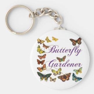 Het Spreuk van de Tuinman van de vlinder Basic Ronde Button Sleutelhanger