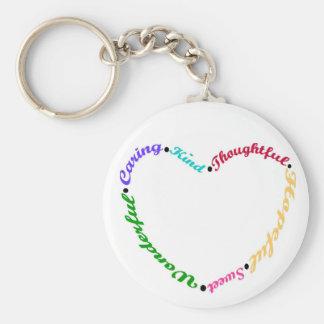 Het spreuk van het hart in kleurencodeketen basic ronde button sleutelhanger