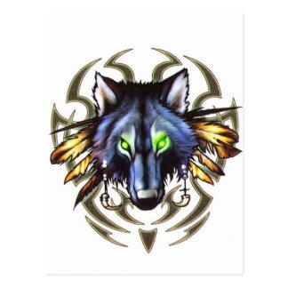 Het stammen ontwerp van het wolfstattoo briefkaart