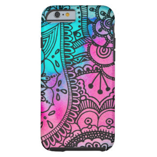 Het stammen Patroon van de Hippie - Aqua en Roze Tough iPhone 6 Hoesje