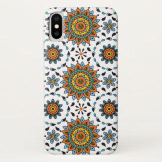 Het StammenPatroon Oranje Aqua van weelderig India iPhone X Hoesje