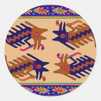 Het StammenSerpent van Inca Ronde Sticker
