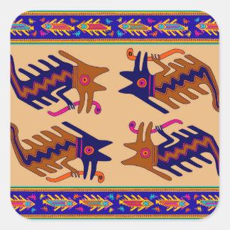 Het StammenSerpent van Inca Vierkante Sticker