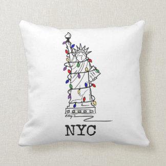Het Standbeeld NYC van Kerstmis van de Vrijheid Sierkussen
