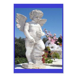 Het Standbeeld van de engel in Blauw en Wit 12,7x17,8 Uitnodiging Kaart