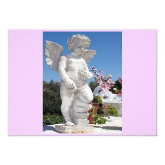 Het Standbeeld van de engel in Roze en Witte I 12,7x17,8 Uitnodiging Kaart