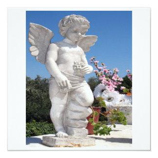 Het Standbeeld van de engel in Wit VI 13,3x13,3 Vierkante Uitnodiging Kaart