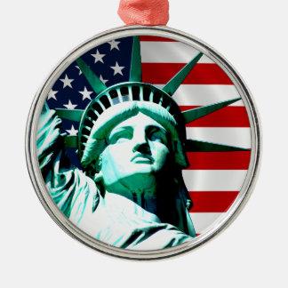 Het standbeeld van Vrijheid, New York, NY Zilverkleurig Rond Ornament