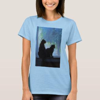 Het Staren van het venster de Olie van Katten T Shirt