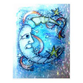 Het sterrige Blauwe Briefkaart van de Maan
