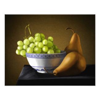 Het Stilleven van de Kom van het Fruit van peren Foto Afdrukken