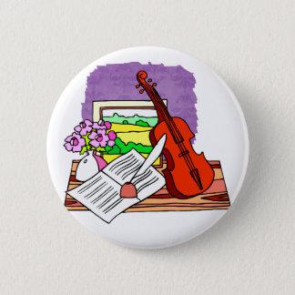 Het Stilleven van de viool met muziek grafisch Ronde Button 5,7 Cm