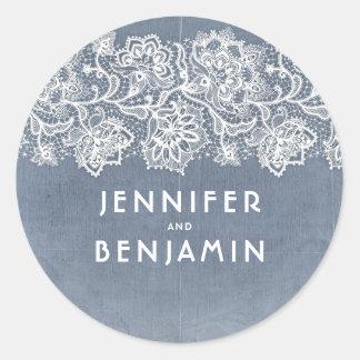 Het stoffige Lichtblauwe en Witte Vintage Huwelijk Ronde Sticker
