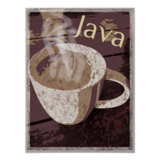 Het stomen van de Rustieke Mok van Java Poster