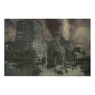 Het storm van Boston Hout Afdruk