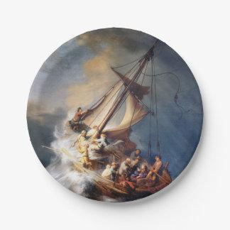 Het Storm van Rembrandt op Meer van Galilee Papieren Bordje