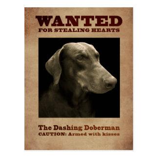 Het stormende Briefkaart Doberman