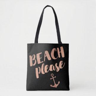 het strand gelieve toe te nemen gouden kalligrafie draagtas