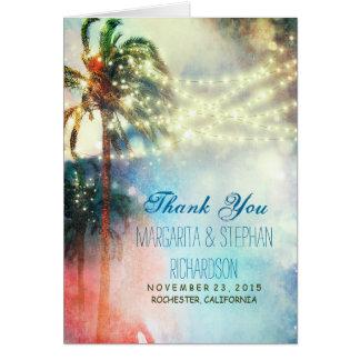 het strand huwelijk dankt u kaardt met lichten & kaart