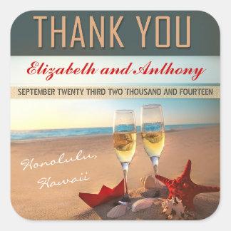 het strand huwelijk dankt u stickers