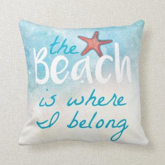 Het strand is waar ik | werp Hoofdkussen behoor Sierkussen
