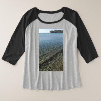 Het strand Sardinige van Poetto Grote Maat Raglan T-shirt
